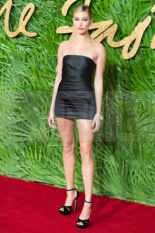 © Licensed to London News Pictures. 04/12/2017. London, UK. HAILEY BALDWIN arrives for The Fashion Awards 2017 held at the Royal Albert Hall. Photo credit: Ray Tang/LNP