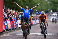 Arrival, Men Road Race 230,4 km, Matteo Trentin (Italy) winner, Mathieu Van Der Poel (Netherlands), Wout Van Aert (Belgium), during the Cycling European Championships Glasgow 2018, in Glasgow City Centre and metropolitan areas, Great Britain, Day 11, on August 12, 2018 - Photo Dario Belingheri / BettiniPhoto / ProSportsImages / DPPI - Belgium out, Spain out, Italy out, Netherlands out -