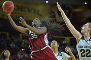 March 18, 2016; Tempe, Ariz;  New Mexico State Aggies guard Moriah Mack (35) goes to the basket during a game between No. 2 Arizona State Sun Devils and No. 15 New Mexico State Aggies in the first round of the 2016 NCAA Division I Women's Basketball Championship in Tempe, Ariz. The Sun Devils defeated the Aggies 74-52.