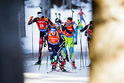Lukas Hofer (ITA), Klemen Bauer (SLO) competes during Men 12,5 km Pursuit at day 3 of IBU Biathlon World Cup 2015/16 Pokljuka, on December 19, 2015 in Rudno polje, Pokljuka, Slovenia. Photo by Ziga Zupan / Sportida