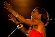 The outstanding flamenco singer Buika, performing at the Union Chapel in Islington, part of the La Linea Festival, London, UK (18 April 2013). The daughter of political refugees from Equatorial Guinea, Buika grew up in a gypsy neighbourhood in Majorca. Her album El Ultimo Trago won a Latin Grammy Award, her unforgettable, smoky voice featured in the Pedro Almodovar film The Skin I Live In, and she has recorded duets with the Portuguese fado star Mariza. This was her first headline London show since 2008.