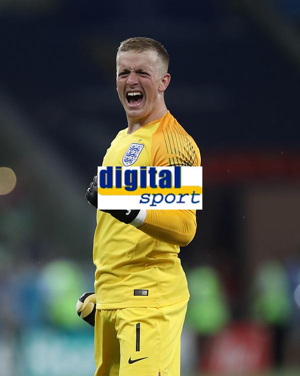 Football - 2018 FIFA World Cup - Group G: England vs. Tunisia<br /> <br /> England goalkeeper Jordan Pickford celebrates his team's opening goal at Volgograd Arena, Volgograd.<br /> <br /> COLORSPORT/IAN MACNICOL