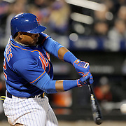NEW YORK, NEW YORK - APRIL 11: Yoenis Cespedes, New York Mets, batting during the Miami Marlins Vs New York Mets MLB regular season ball game at Citi Field on April 11, 2016 in New York City. (Photo by Tim Clayton/Corbis via Getty Images)