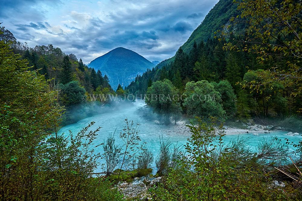 Soca River flows among the Julian Alps in Slovenia