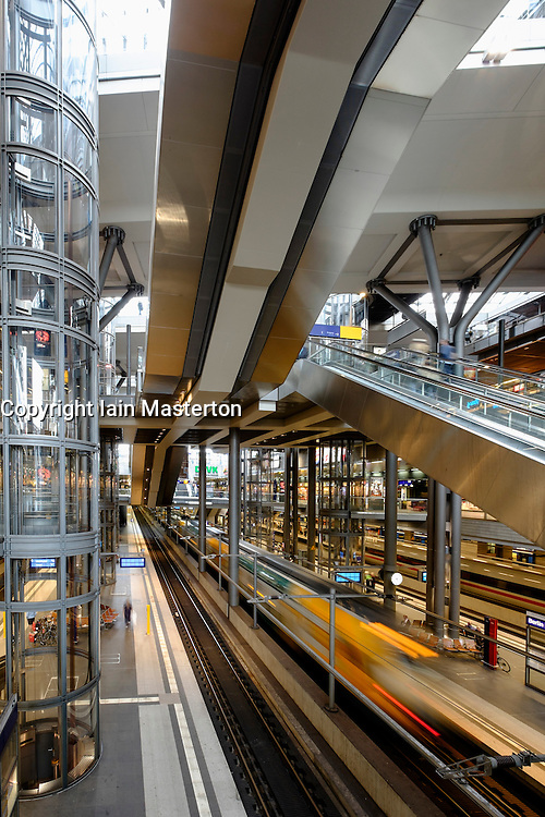 Interior of Hauptbahnhof or main railway station in Berlin Germany