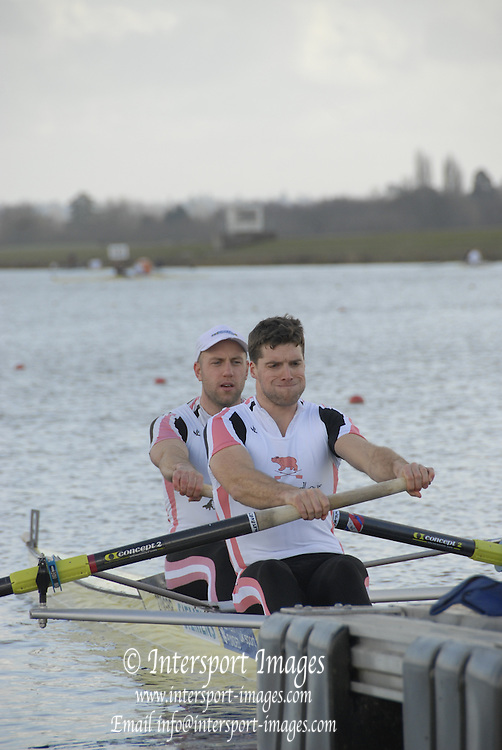 Eton, GREAT BRITAIN,  Tom WILKINSON (bow), and Tom SOLESBURY (stroke), M2-,  power away from the Start, GB Trials 3rd Winter assessment at,  Eton Rowing Centre, venue for the 2012 Olympic Rowing Regatta, Trials cut short due to weather conditions forecast for the second day Sunday  13/02/2011   [Photo, Karon Phillips/Intersport-Images]