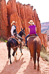 North America, United States, Utah, Bryce Canyon National Park, Girl (age 10) horseback rider and guide on mule resting in front of  hoodoos.  MR