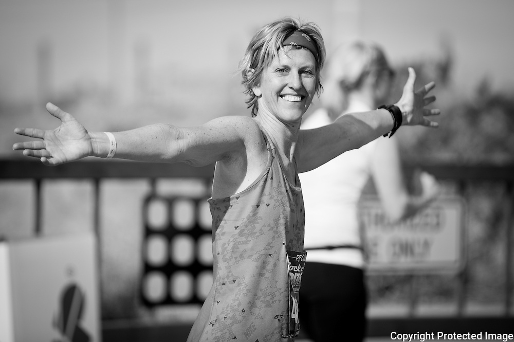 A very happy runner in the P.F. Chang Rock 'n' Roll half marathon in Phoenix.