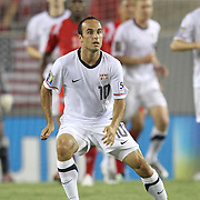 USA midfielder Landon Donovan (10) defends during a CONCACAF Gold Cup soccer match between the United States and Panama on Saturday, June 11, 2011, at Raymond James Stadium in Tampa, Fla. (AP Photo/Alex Menendez)