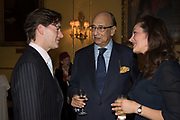 JONATHAN CATHEY; DESMOND DE SILVA; SYLVIA BOOKER, Launch hosted by Quartet books  of Madam, Where Are Your Mangoes? by Sir Desmond de Silva at The Carlton Club. London. 27 September 2017.