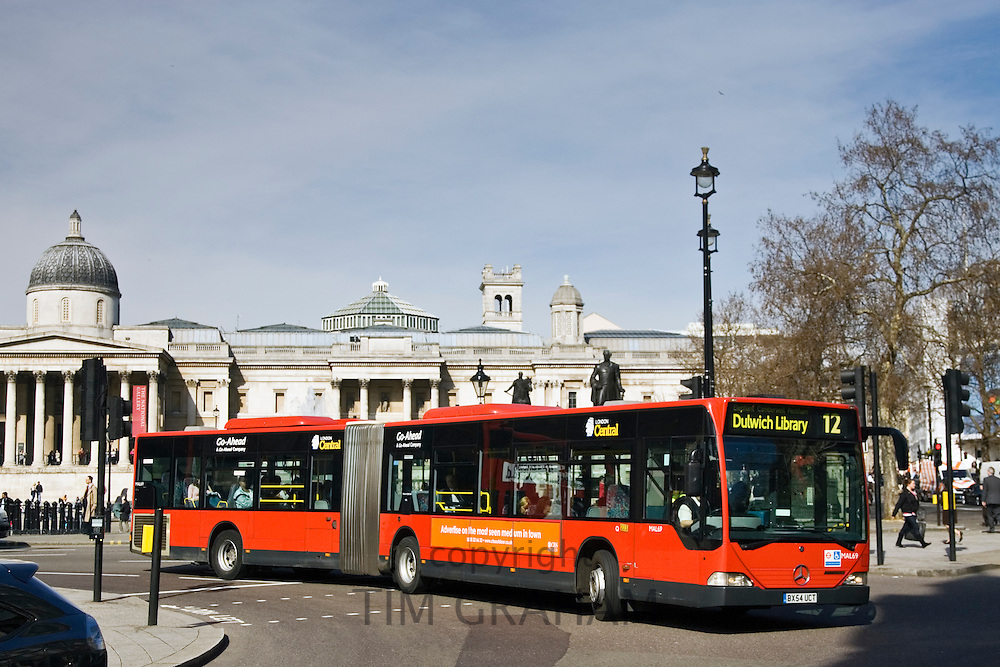 Public transport single-decker bendy bus travelling in Trafalgar Square, London city centre, England, United Kingdom