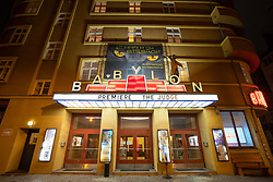 Exterior view of Babylon cinema at night in Mitte, Berlin, Germany