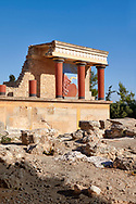Minoan of the North Entrance Propylaeum with its painted charging  bull releif,  Knossos Palace archaeological site, Crete ..<br /> <br /> Visit our GREEK HISTORIC PLACES PHOTO COLLECTIONS for more photos to download or buy as wall art prints https://funkystock.photoshelter.com/gallery-collection/Pictures-Images-of-Greece-Photos-of-Greek-Historic-Landmark-Sites/C0000w6e8OkknEb8 <br /> .<br /> Visit our MINOAN ART PHOTO COLLECTIONS for more photos to download  as wall art prints https://funkystock.photoshelter.com/gallery-collection/Ancient-Minoans-Art-Artefacts-Antiquities-Historic-Places-Pictures-Images-of/C0000ricT2SU_M9w