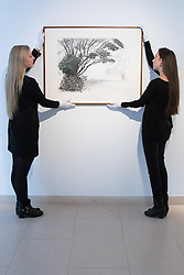"Christies, St James, London, March 4th 2016. Gallery assistants hang David Hockney's ""Kilham to Rudston"", charcoal on paper from 2008 at the preview for the It's Our World charity auction at Christie's. Over 40 leading artists including David Hockney, Sir Antony Gormley, David Nash, Sir Peter Blake, Yinka Shonibare, Sir Quentin Blake, Emily Young and Maggi Hambling have committed artworks to the It's Our World Auction in support of The Big Draw and Jupiter Artland Foundation, to be sold at Christie's London on 10 March 2016.<br />  ///FOR LICENCING CONTACT: paul@pauldaveycreative.co.uk TEL:+44 (0) 7966 016 296 or +44 (0) 20 8969 6875. ©2015 Paul R Davey. All rights reserved."