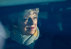 © Licensed to London News Pictures. 13/03/2019. LONDON, UK.  Theresa May, Prime Minister, arrives at the House of Commons, where MPs are to vote on whether to remove no deal as a Brexit option.  Photo credit: Stephen Chung/LNP