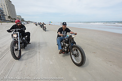 Jim Root from the Band Slipknot (L) with Bill Dodge, both on Bill's Blings Cycles bikes, riding on Daytona Beach during Daytona Bike Week 75th Anniversary event. FL, USA. Thursday March 3, 2016.  Photography ©2016 Michael Lichter.