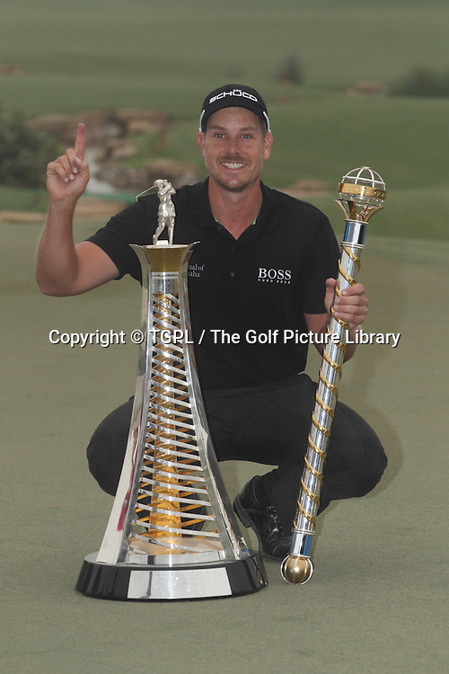 Henrik STENSON (SWE) wins tournament and Race To Dubai during fourth round DP World Tour Championship 2013,Jemeirah Golf Estates, Dubai,UAE.