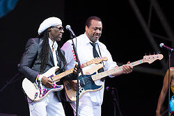 Nile Rodgers and Jerry Barnes performing with Chic on the Pyramid Stage during the Glastonbury Festival at Worthy Farm in Pilton, Somerset. Picture date: Sunday June 25th 2017. Photo credit should read: Matt Crossick/ EMPICS Entertainment.