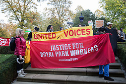 London, UK. 31 October, 2019. Low-paid and predominantly migrant Royal Parks attendants and cleaners outsourced via Vinci and belonging to the United Voices of the World (UVW) trade union take part in a coordinated series of 'five strikes in one day' involving also cleaners from the Ministry of Justice, University of Greenwich café workers, cleaners, porters and caterers from St Mary's Hospital Paddington and cleaners from the Channel 4 and ITV offices in Gray's Inn Road. The Royal Parks attendants and cleaners are seeking a pay rise from £8.21ph to the London Living Wage of £10.55 ph, occupational sick pay and statutory holiday.