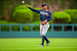 May 22, 2018 - Philadelphia, PA, U.S. - PHILADELPHIA, PA - MAY 22: Atlanta Braves second baseman Ozzie Albies (1) warms up before the MLB game between the Atlanta Braves and the Philadelphia Phillies on May 22, 2018 at Citizens Bank Park in Philadelphia PA. (Photo by Gavin Baker/Icon Sportswire) (Credit Image: © Gavin Baker/Icon SMI via ZUMA Press)