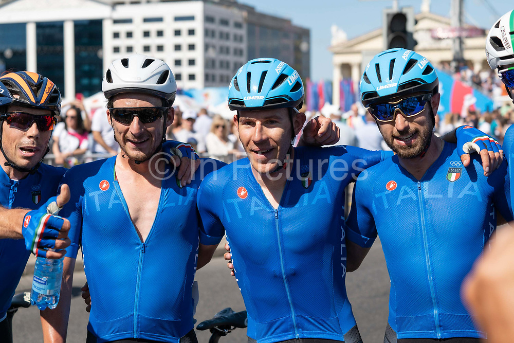 Team Italy following Davide Ballerini winning the men's cycling road race during the 2019 Minsk European Games on the 23rd June 2019 in Minsk City in Belarus.