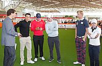 AMSTERDAM - Presentator Marcel Maijer, Inder van Weerelt en Floris de Vries, Tim Sluiter, Christel Boeljon. Golfbeurs , Amsterdam Golf Show, in de Amsterdamse Rai. COPYRIGHT KOEN SUYK