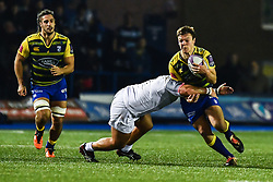 Jarrod Evans of Cardiff Blues is tackled by Charlie Faumuina of Toulouse - Mandatory by-line: Craig Thomas/JMP - 14/01/2018 - RUGBY - BT Sport Cardiff Arms Park - Cardiff, Wales - Cardiff Blues v Toulouse - European Rugby Challenge Cup
