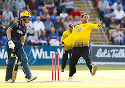 Gloucestershire's Kieran Noema-Barnett bowls<br /> <br /> Photographer Simon King/Replay Images<br /> <br /> Vitality Blast T20 - Round 8 - Glamorgan v Gloucestershire - Friday 3rd August 2018 - Sophia Gardens - Cardiff<br /> <br /> World Copyright © Replay Images . All rights reserved. info@replayimages.co.uk - http://replayimages.co.uk