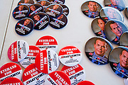 Aug 9, 2010 - SUN CITY WEST, AZ: Campaign buttons for JD Hayworth, who is running against US Sen. John McCain in the Arizona Republican primary at the Spending Revolt Bus event in Sun City West, AZ. Hayworth is hoping to capitalize on the Tea Party vote, though the Arizona Tea Party has not formally endorsed him. The Spending Revolt Bus stopped in Sun City West, a retirement community northwest of Phoenix, Monday. Spending Revolt is a new coalition of taxpayers and business owners concerned about government spending. The bus is attracting Republican and Tea Party affiliated candidates to its events. The bus has crisscrossed Nevada, California and Arizona and is heading east to Washington DC.   Photo by Jack Kurtz / ZUMA Press