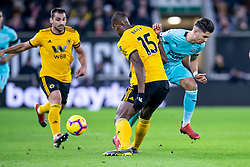February 11, 2019 - Wolverhampton, England, United Kingdom - Willy Boly of Wolverhampton Wanderers tackles Ayoze Perez of Newcastle United during the Premier League match between Wolverhampton Wanderers and Newcastle United at Molineux, Wolverhampton on Monday 11th February 2019. (Credit Image: © Mi News/NurPhoto via ZUMA Press)