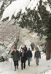 © under license to London News Pictures.2.12.2010 People walk through snow in Kent. Snow in Orpington. Picture credit should read Grant Falvey/London News Pictures