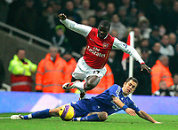 Photo: Tom Dulat/Sportsbeat Images.<br /> <br /> Arsenal v Chelsea. The FA Barclays Premiership. 16/12/2007.<br /> <br /> Arsenal's Emmanuel Eboue is tackled by Chelsea's Joe Cole after which Eboue was taken of the pitch.