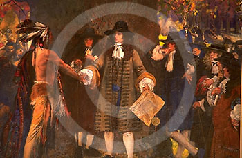 """Pennsylvania Capitol Art,  """"Penn Treaty with Indians"""" by Abbey, House Chamber, Harrisburg, PA"""