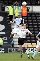 Fotball<br /> FA-cup 2005<br /> Derby v Fulham<br /> 29. januar 2005<br /> Foto: Digitalsport<br /> NORWAY ONLY<br /> Zat Knight headers the ball over Inigo Idiakez