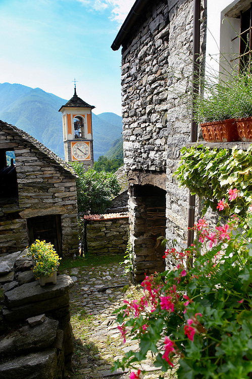 Rustic mountain peasant village of Corippo with stone houses and church -Val Verzasca, Ticino, Alps, .<br /> <br /> Visit our SWITZERLAND  & ALPS PHOTO COLLECTIONS for more  photos  to browse of  download or buy as prints https://funkystock.photoshelter.com/gallery-collection/Pictures-Images-of-Switzerland-Photos-of-Swiss-Alps-Landmark-Sites/C0000DPgRJMSrQ3U