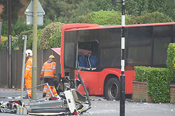 ©Licensed to London News Pictures 01/11/2019.<br /> Orpington,UK. Back window of 358 bus, The 2nd bus (358) has been pulled into the road ready for removal.  One person is dead and 15 others have been injured in a crash between two buses and a car last night in Orpington, South East London. A man has been arrested for dangerous driving. Police are still on scene and a cordon is in place. Photo credit: Grant Falvey/LNP