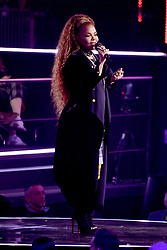 Janet Jackson on stage accepting her Global Icon Award during the MTV Europe Music Awards 2018 held at the Bilbao Exhibition Centre, Spain
