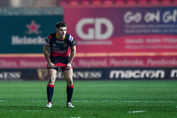 Dragons' Arwel Robson in action during todays match<br /> <br /> Photographer Craig Thomas/Replay Images<br /> <br /> Guinness PRO14 Round 13 - Scarlets v Dragons - Friday 5th January 2018 - Parc Y Scarlets - Llanelli<br /> <br /> World Copyright © Replay Images . All rights reserved. info@replayimages.co.uk - http://replayimages.co.uk