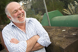 Dick Parry in East Melbourne with a Water Mains pipe in the background