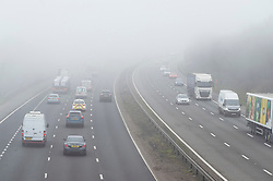 © Licensed to London News Pictures 03/03/2021. Swanley, UK. A cold foggy weather day for motorists on the M25 in Kent near Swanley. The Met Office has issued a misty fog warning for most of the day in the South East. Photo credit:Grant Falvey/LNP