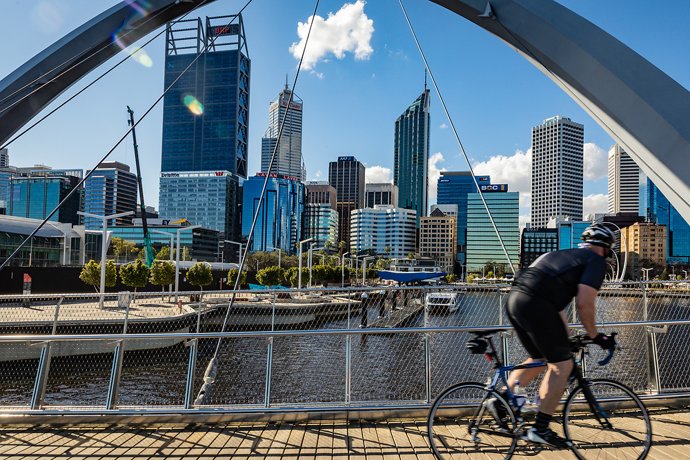 Perth skyline from Elizabeth Quay,Western Australia Thursday August 20,2020.