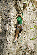 Mina Leslie-Wujastyk making the first female ascent of Pump Up The Power, 8a+, Raven Tor
