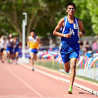 051014       Adron Gardner<br /> <br /> Laguna Acoma Hawk Isaiah Kelsey pulls a clear lead over Zuni Thunderbird Alex Eustace  in the AA boys 3200m race at  the State Track Meet at the University of New Mexico in Albuquerque Saturday. Kelsey would claim the state title with a time of 9:57.54.