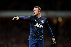 Man Utd Forward Wayne Rooney (ENG) points in frustration - Photo mandatory by-line: Rogan Thomson/JMP - 07966 386802 - 12/02/14 - SPORT - FOOTBALL - Emirates Stadium, London - Arsenal v Manchester United - Barclays Premier League.