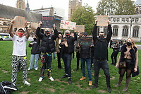 Creatives Unite Against injustice protest at P arlment Sq London 25th oct 2020 photo by Brian Jordan