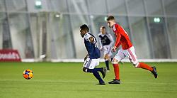 Scotland's Karamoko Dembeleand Wales Keenan Patten. Scotland 2 v 2 Wales, Under 16 Victory Shield, Oriam 1/11/2016.