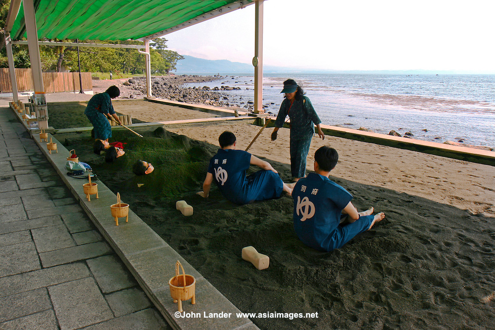 Sand Bath at Beppu - A group of friends or family can enjoy being immersed in the hot sand bath together. A distinctly unique experience, having to have a bath after your sand bath to get rid of the sand.  Still, the experience will ease the muscles by sinking in the warm sand while gazing over the vast, blue ocean