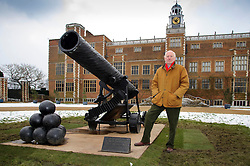 © Licensed to London News Pictures. 27/03/2013 Hatfield UK. Bill Woodrow with his 'Endeavour' sculpture outside Hatfield House, Herts. His work is part of a Royal Academy exhibition that showcases six of their artists. This is the first time that the Royal Academy of Arts has collaborated with another organisation to curate an exhibition of Royal Academicians' sculpture outside the Royal Academy..Photo credit : Simon Jacobs/LNP