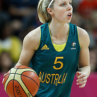 30 July 2012: Samantha Richards of Australia brings the ball upcourt during the 74-70 Team France overtime victory over Team Australia, during the women's basketball preliminary, at the Basketball Arena, in London, Great Britain.