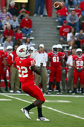 10 September 2011: Marvon Sanders gets under a punt during an NCAA football game between the Morehead State Eagles and the Illinois State Redbirds at Hancock Stadium in Normal Illinois.